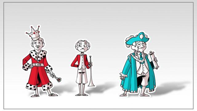 Character Designs - König, Diener und Kunde